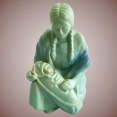 Van Briggle Art Pottery Kneeling Native American Woman Holding Baby on Cradleboard Figurine in Turquoise Ming Blue Glaze