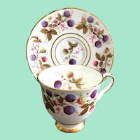 Royal Stafford Golden Bramble Bone China Footed Demitasse Cup and Saucer Berries Gold Leaves