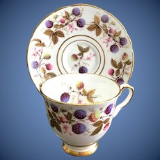 Royal Stafford Golden Bramble Bone China Berries and Gold Leaves Footed Demitasse Cup and Saucer