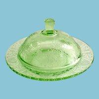 Florentine Poppy No. 2 Green Depression Glass Round Covered Butter Dish Hazel-Atlas