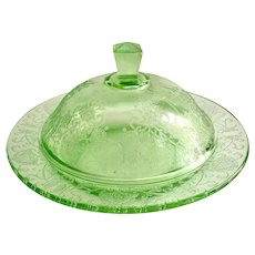 Florentine Poppy No. 2 Green Depression Glass Round Covered Butter Dish Hazel-Atlas