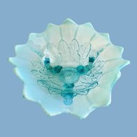Northwood Leaf and Beads Blue Opalescent Footed Tricorner Glass Candy Bowl