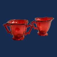 Imperial Glass Hazen Line 760 Square Ruby Red Elegant Depression Glass Sugar and Creamer