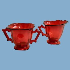 Imperial Glass Line 760 Square Hazen Ruby Red Elegant Depression Glass Cream and Sugar