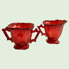 Imperial Glass Line 760 Square Hazen Ruby Red Elegant Depression Glass Cream and Sugar