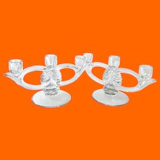 Duncan & Miller Glass Pair of Number 115 Canterbury Crystal Three-Light Candleholders