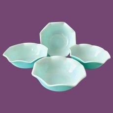 Hazel Atlas Ripple Aqua Blue over Milk Glass Cereal Bowls - Set of Four