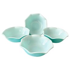 Hazel Atlas Ripple Aqua Blue over Milk Glass Cereal Bowls - Set of Four