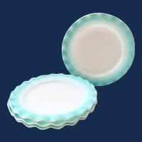 Hazel-Atlas Ripple Crinoline Aqua Blue over Milk Glass 8-7/8 Inch Luncheon Plates - Set of Four