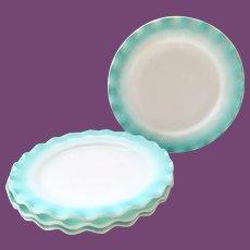 Hazel-Atlas Ripple Crinoline Aqua Blue over Milk Glass 8-7/8 Inch Luncheon Plates - Set of Four
