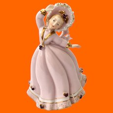 Lefton Lady in Pink with Gold and Spaghetti Trim Figurine