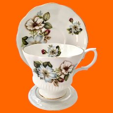 Royal Albert Chelsea Shape Teacup and Saucer Blue and White Flowers with Red Rosebud