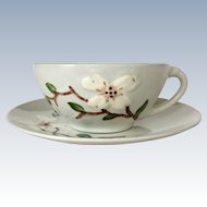 Ceramic Manufacturing Company California Pottery Orchard Ware Dogwood Cup and Saucer