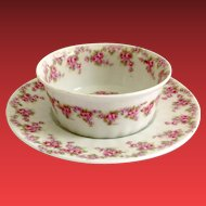 Early 1900s Limoges France Bridal Wreath Ramekin and Underplate for Higgins & Seiter