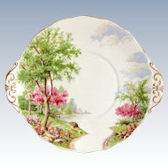 Royal Standard Bone China Spring's Gift Blue and Pink Scenic Handled Cake Plate Circa 1950s to 1960s