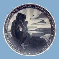 Royal Copenhagen Denmark Limited Edition 1918 Commemorative Peace Plate Monochromatic Blue