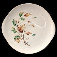 French Saxon China USA Breeze Mid Century Round Handled Cake Plate