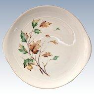 French Saxon China USA Breeze Mid Century Round Handled Cake Plate