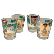 Libbey 22K-Gold and Aqua Double Old-Fashioned Glasses Southern Comfort Riverboat 1968 Set of Four