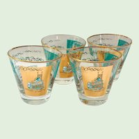 Libbey Southern Comfort Set of Four 22K Gold and Aqua Riverboat Old-Fashioned Glasses circa 1968