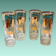 Libbey Southern Comfort 22K Gold and Aqua Riverboat Collins Glasses circa 1968 Set of Four