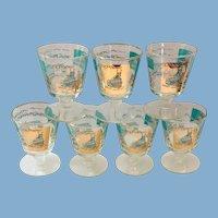 Libbey Southern Comfort Set of Seven 22K Gold and Aqua Riverboat Stemmed Cocktail Glasses circa 1968