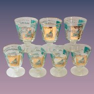 Libbey Southern Comfort Set of Seven 22K Gold and Aqua Riverboat Stemmed Cocktail Glasses circa 1968