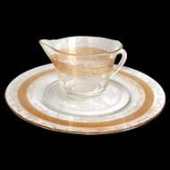 MacBeth-Evans S pattern Stippled Rose Band Amber Banded Depression Glass Creamer with Matching Plate