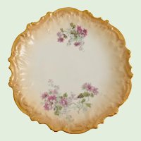 Coiffe Limoges France Early 1900s Purple Anemone Flower Transfer Plate