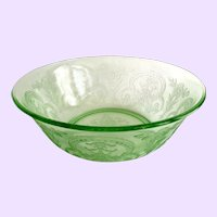 Indiana Horseshoe Number 612 Green Depression Glass Large Berry Bowl