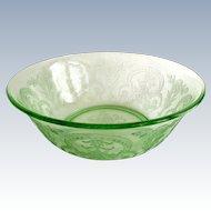 Indiana Horseshoe Number 612 Green Depression Glass Large Berry Bowl