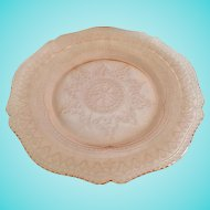 Federal Patrician Spoke Pink Depression Glass 9-inch Luncheon Plate