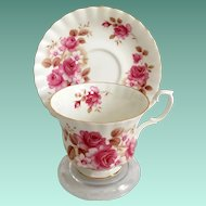 Royal Albert Bone China Pink Roses and Brown Leaves Montrose Shape Teacup and Saucer 1960s