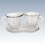 Imperial Candlewick Elegant Glass Number 400 Sugar and Creamer with Tray