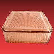 Federal Glass Rose Glow Pink Vertical Ribbed Square Covered Refrigerator Dish