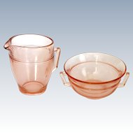 Fostoria Priscilla Elegant Glass Pink Cream and Sugar Depression Era