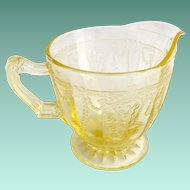 Hocking Cameo Ballerina Yellow Depression Glass Creamer