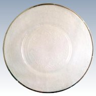 MacBeth-Evans S Pattern Stippled Rose Band Depression Glass Platinum Rim Luncheon Plate