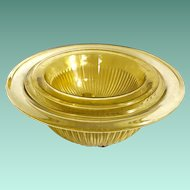 Federal Golden Glow Amber Glass Nesting Mixing Bowls Set of Three 1930s