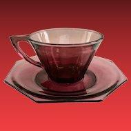 Hazel Atlas Moroccan Amethyst Mid Century Glass Octagonal Cup and Saucer