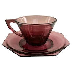 Hazel Atlas Moroccan Amethyst Mid Century Glass Octagonal Cup and Saucer