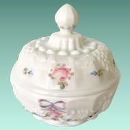 Westmoreland Milk Glass Roses and Bows Round Covered Powder Puff Box