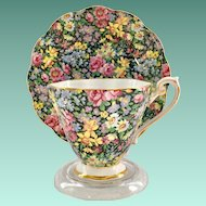 Royal Standard Bone China Black Floral Chintz Teacup and Saucer Numbered 1810