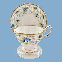 Royal Albert Bone China Heather Bell Blue Teacup and Saucer Malvern Shape