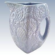Niloak Pottery Arkansas Blue Embossed Flowers Pitcher Circa 1940