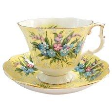 Royal Albert Bone China Festival Series Shaftesbury Yellow Teacup and Saucer Gainesborough Shape