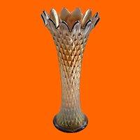Northwood Diamond Point Amethyst Carnival Glass Vase Early 1900s