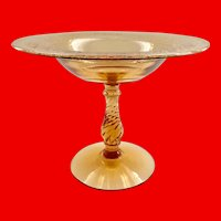 Fostoria Elegant Glass Royal Etch Amber Compote Blank 2327 Twisted Stem 1920s