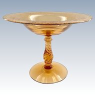 Royal Etch Fostoria Elegant Glass Amber Compote on Blank 2327 Twisted Stem 1920s