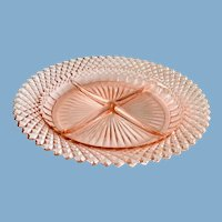 Miss America Pink Depression Glass Divided Relish Plate by Hocking